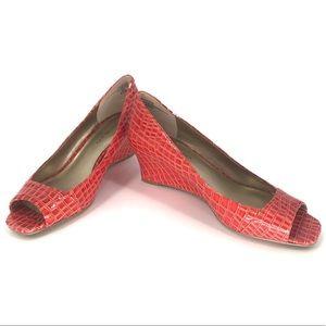 Bandolino wedge peep toe heels burnt orange 6.5M